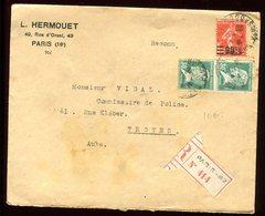 Enveloppe Commerciale En Recommandé De Paris Pour Troyes En 1928 - Marcophilie (Lettres)