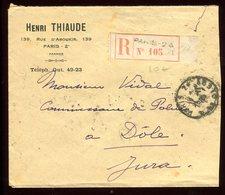 Enveloppe Commerciale En Recommandé De Paris Pour Dôle En 1929 - Marcophilie (Lettres)