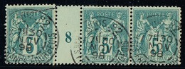FRANCE - N° 75 OBLITERE - TYPE SAGE - 5c VERT - MILLESIME 8. - Le Timbre De Gauche Est Plus Grand.(cote 110€). - Millésime