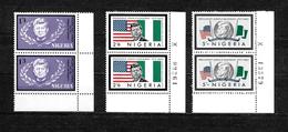 Nigeria, 1964 Kennedy Memorial Issue, Complete Set In Corner Marginal Pairs MNH (6842) - Nigeria (1961-...)