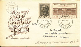 Czechoslovakia FDC 21-1-1954 Complete Set Of 2 Lenin Anniversary Mausoleum With Cachet Sent To Denmark - FDC