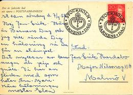 Sweden Post Card Children's Day Stockholm 7-4-1958 - Sweden