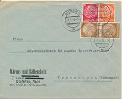 Germany Third Reich Cover Sent To Denmark Düren 11-5-1939 - Allemagne