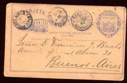 Uruguay - Entier Postal ( Plis ) Pour Buenos Aires En 1883 - Uruguay