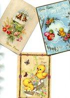LOT De 3 Cartes Dont Une Double Sur La Joyeuse Pâques Buona Pasqua Diverses Illustrations - Pâques