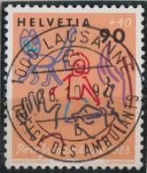 SUISSE Pro Juventute 1988:   La Haute Valeur (90+40) Oblitérée 'Vollstempel'  Lausanne-Ambulants, TB - Pro Juventute