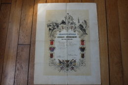 Diplome Medaille Royaume De Belgique   Recompense Nationale   1844 - Diplômes & Bulletins Scolaires