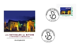 Serpent En Forme De B Oblitérant Un Timbre Personnalisé Présentant La Porte De Strasbourg à Bitche Sur Envelop Illustrée - Marcophilie (Lettres)
