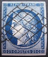 R1530/63 - CERES N°4a Bleu Foncé - GRILLE NOIRE - Cote : 75,00 € - 1849-1850 Ceres