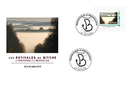Serpent En Forme De B Oblitérant 4 Timbres Personnalisés De Bitche Sur 4 Enveloppes Illustrées - Marcophilie (Lettres)