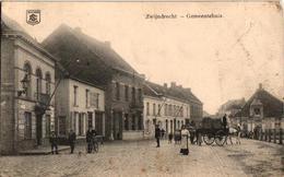 1 Oude Postkaart  Zwijndrecht  Gemeentehuis  1914 Cafe Restaurant St Machutus Paardekar - Zwijndrecht