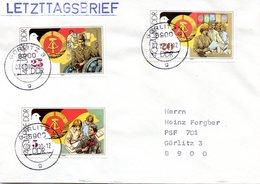 """(Gm2) DDR LETZTAGSBRIEF """"Letzter Gültigkeitstag Der DDR PWZ"""" MiF DDRTSt. 2.10.90 GÖRLITZ 3 - DDR"""