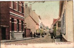 1 Oude Postkaart Kontich  Contich Magdalene Straat Uitgever Van Den Bosch Zusters 1905 Gekleurde Kaart, Reclame SINGER - Kontich