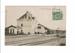 Cpa VALENCAI Gare De Valençai Vue D'ensemble Train Sur Voie Voyageurs Cl Kassamot - France
