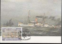 752c S. Tomé E Principe 1984 Navi A Vapore Maximum Card Prince Heinrich  (1900) Steamers Maxi - Sao Tomé E Principe