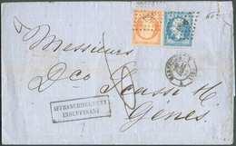 N°22-23 - NAPOLEON 20 Et 40 Cent., Oblitérés Du Cachet PC.1896 Sur Lettre De MARSEILLE Du 22 Décembre 1862 + Griffe AFFR - 1862 Napoleon III