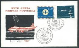 1965 ITALIA FDC ROMA RETE AEREA POSTALE NOTTURNA NO TIMBRO ARRIVO - KI24 - F.D.C.