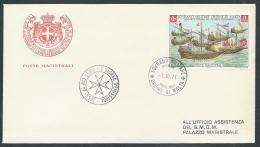 1971 SMOM FDC BATTAGLIA DI LEPANTO TIMBRO ARRIVO - KM1 - Malta (la Orden De)