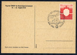 GENERAL GOVERNMENT 1943 NSDAP Day Postmark On Commemorative Postcard. - 1939-44: World War Two