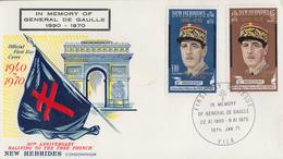 Enveloppe  FDC  1er Jour   NOUVELLES  HEBRIDES   Hommage  Au  Général  DE  GAULLE   1971 - FDC