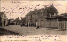 1 Oude Postkaar MORTSEL Oude God Zicht  Op De Statie Uitgever Hermans 1905 Met Personeel Station En Trein In Uniform - Mortsel