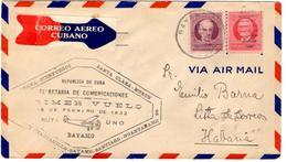 Lettre Par Avion De Bayamo (15.02.1932) Pour La Havane, Cuba, Primer Vuelo Ruta Uno_Guantanamo - Cuba