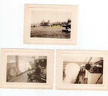 """3 Photos, Marseille, Port Avec """"Henriette V"""" Et """"Charles Le Borgne"""", Prise De """"Charles Plumier"""" - Bateaux"""