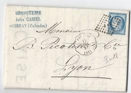 Lettre Avec Cérès N° 60 TAD Convoyeur Station De Guibray Vers Lyon 13 Avril 1875 - Marcophilie (Lettres)
