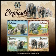 (277) Botswana  2016 / Animals / Elephants / Elefanten / Thailand Overprint  ** / Mnh  Michel BL 50 I - Botswana (1966-...)