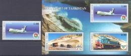 2001.  Tajikistan, Transport, Airplanes, 1v + S/s, Mint/** - Tadschikistan