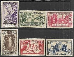 French Sudan  1937  Sc#106-11  Paris Expo Set   MNH      2016 Scott Value $20.25 - Sudan (1894-1902)