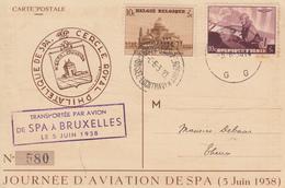 Carte  BELGIQUE  Journée  D' Aviation  SPA  1938 - Airmail