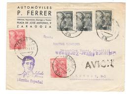 5928 - Censura Militar ZARAGOZA - 1931-50 Lettres