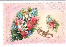 Thèmes - Fêtes - Voeux - Nouvel An - Bouquet De Fleurs - Relief - Nouvel An