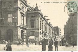 REIMS - La Rue De Chanzy Et Le Théâtre - Reims