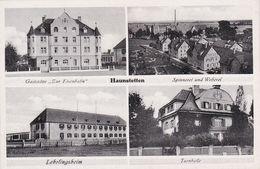 (572) AK Haunstetten B. Augsburg Mehrbildkarte Mit Gaststätte Zur Eisenbahn/Spinnerei & Weberei/Lehrlingsheim/Turnhalle - Deutschland