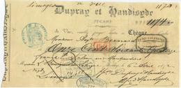 """Chèque Ancien 1872 """"Dupray Et Handisyde Filature De Coton à Fécamp"""" Normandie - Cachet Banque Limoges - Chèques & Chèques De Voyage"""