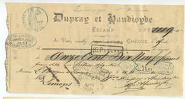 """Chèque Ancien 1872 """"Dupray Et Handisyde Filature De Coton à Fécamp"""" Cachet Banque Le Havre - Chèques & Chèques De Voyage"""