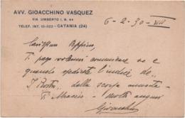 Catania: Cartolina Pubblicitaria Avvocato Gioacchino Vasquez . Viaggiata 1930 - Catania