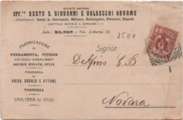 Milano: Officine Sesto San Giovanni E Valsecchi Abramo. Viaggiata 1916 Milano Firenze Napoli Balangero (Torino) - Milano