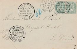 CP 1902 Pour Le Caire Via Alexandrie + OR TTB. - 1900-29 Blanc