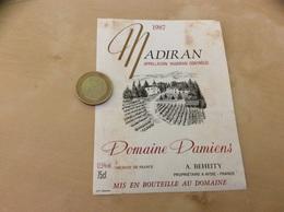 étiquette De Vin «MADIRAN - Domaine Damiens - A. BEHEITY - AYDIE (64)» 1987 - Madiran