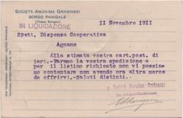 Società Anonima Grabinski, Bolgo Panigale (Bologna). Viaggiata 11.11.11 Con Annullo Tondoriquadrato Agnano (Pisa) - Bologna