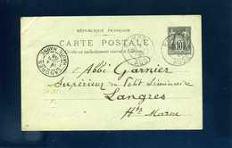 89 CP5 Entier Carte Postale Sage 10c Noir Sur Vert Homps Aude 1898 Type A2 Pour Langres - Postal Stamped Stationery