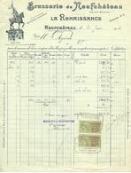 Facture 1923 / VOSGES / Brasserie De Neufchâteau / LA RENAISSANCE / Timbres Quittances à 50c - 1900 – 1949