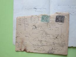 ENVELOPPE + LETTRE écrite à DONZY (Nièvre) 4/10/? Obitérée DONZY & NEVERS-GARE / Sage 5c Vert + 10c Gris - Marcophilie (Lettres)