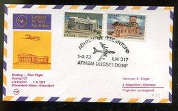 Griechenland / 1972 / Erstflugbf. (FFC) Athen-Duesseldorf (15087) - Posta Aerea