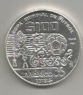 Messico, 100 $, 1985, Mondiali Calcio, Ag. - Mexico