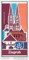 Kroatien 1976 - Zagreb - Faltblatt 14 Abbildungen - Stadtplan - Veranstaltungskalender April 1976 - Reiseführer