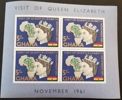 Ghana 1961 Visit Of Queen Elizabeth  11  To Ghana S/S - Ghana (1957-...)